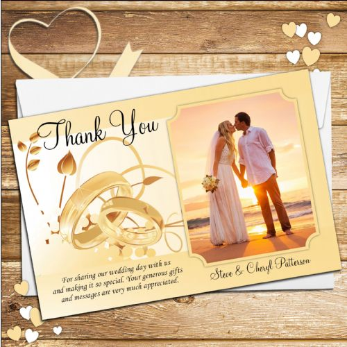 10 Personalised Wedding  Thank you PHOTO cards N156